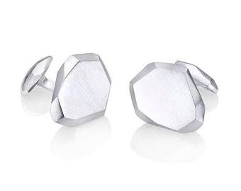Geometric Silver Polygon Cufflinks - Mens Jewelry - Groom Gift - Solid Silver - Faceted - Wedding Gift - Simple and Modern