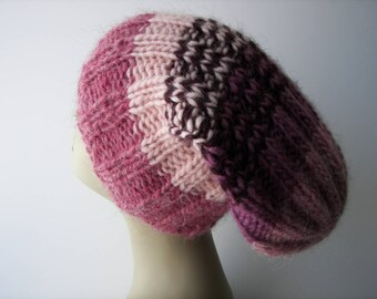 ICELANDIC LOPI WOOL Slouch Beanie Fold Up Color Block Hat in Rose Heather Purple/ Lopi yarn Knit Slouch hat/ Ready to Ship