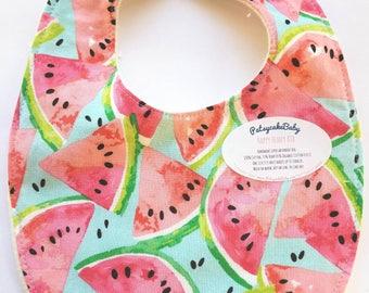 Happy Hempy, organic cotton and hemp fleece backed baby bib, super absorbent, watermelons