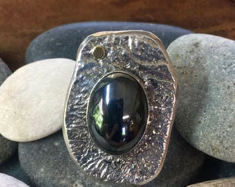 Reticulated Sterling Silver Hematite Ring with 18k accent
