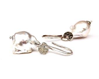 White Baroque Pearl Earrings, White Flameball Pearl Earrings, Baroque Pearl Earrings, White Pearl Dangle Earrings in Sterling Silver