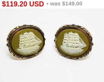 Spring Fling Sale Vintage Dante Clipper Ship Cufflinks - Incolay Style White & Olivine Green on Gold Tone Oval Setting - Pirate Ship Acce...