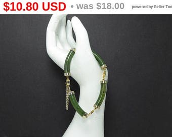 Summer Sizzler Sale Green Jade Link Bracelet - Gold Tone End Caps and Connecting Links, Asian Inspired Gemstone Jewelry - Vintage 1960's ...