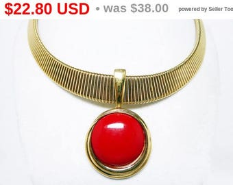 Summer Sizzler Sale Trifari Choker Pendant Necklace - Wide Gold Tone Necklace w Sliding Red Lucite Circle Pendant Designer Signed - Vinta...