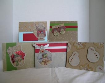 Christmas Card Assortment, Holiday Greeting Cards, Set of 5 Holiday Cards, Handmade Christmas Cards, Snowman Christmas Cards