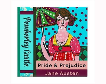 Jane Austen Book Lover Art Tile by artist Heather Galler Pemberly Castle Pride and Predjudice Woman Author Novelist