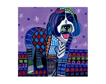 Portugese Water Spaniel Dog art Tile Ceramic Coaster Mexican Folk Art Print of painting by Heather Galler Dog  (HG143)