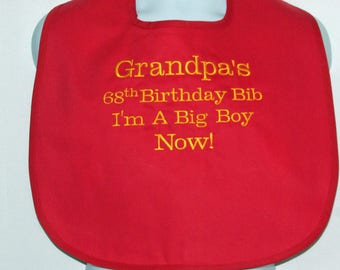 Adult Bib For Grandpa, Big Boy Birthday, Gag Gift, Personalized With Name, Pappy, Grampy, No Shipping Fee, Ready To Ship TODAY, AGFT 1090