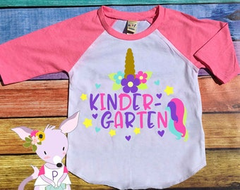 Unicorn Kindergarten Shirt Custom Back to School Shirt with name preschool Kindergarten back to school shirt