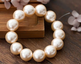 Vintage Pearl Beads Japan Pale Peach Pink Lucite Pearl Beads 15.5mm