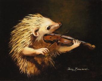 "Hedgehog with violin- Serenade- 8x10"" - Giclee Cavas Print"