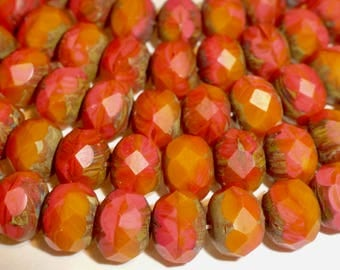 25 Czech Glass Fire Polished Roundel  Beads in Tropical Matte Red Orange with Picasso Finish in size 9x6mm