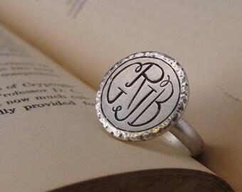 Four Letter Monogram Ring – Silver Monogram Ring – Custom Monogram Jewelry – Monogram Ring – Initial Ring – Three Letter Monogram Ring