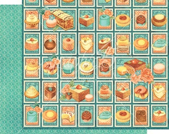 Graphic 45 Cafe Parisian Postage Patisserie, set of 2 sheets 12x12 double sided