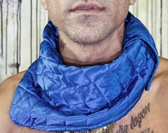 Upcycled Royal Blue Quilted Festival Neck Protection