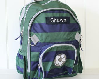 Large Backpack with Monogram Pottery Barn (Large Size) --Navy/Green Rugby Stripe with Soccer Ball
