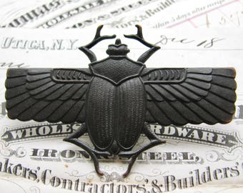 Egyptian scarab beetle with wings, black antiqued brass pin, 2 3/4 inch large brooch, Art Deco, Gothic, statement piece, Fallen Angel Brass