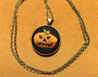 Halloween pumpkin necklace embroidered jack o lantern