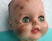 DISTRESSED DOLL HEAD Rubber Vintage Creepy Baby, Blinking Eyes, Halloween Decor, Photo Prop