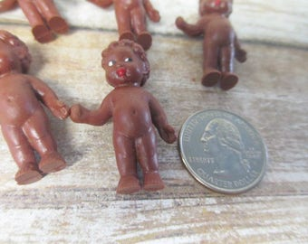 Miniature Vintage Rubber German Doll 1 1/2 inch - lot of 5