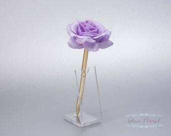Lavender Rose Guestbook Pen. Gold Wedding Pen Set, Wedding Pen Holder, Real Touch Rose Flowers. Light Purple, Lilac. Tea Rose Collection