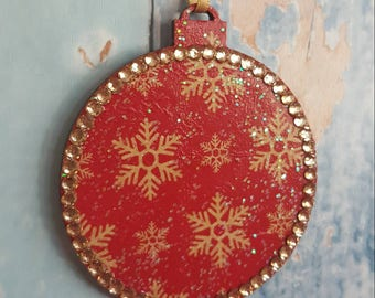 Snowflake Christmas  Tree Decoration, with rhinestones, Wooden, red decoupage