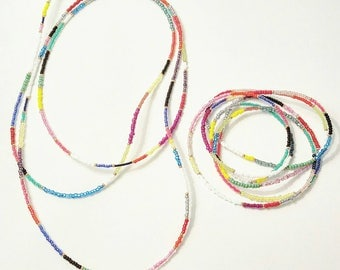 Color Block seed bead long necklaces