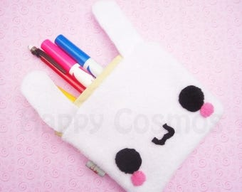 ON SALE - Bunny Zipper Pouch - Pencil Pouch, Pencil Case, School Supplies, Make Up Bag, 3DS Case, Phone Case, Coin Purse
