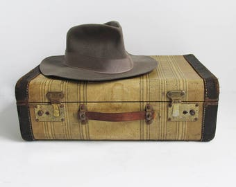 """Small 1940s Striped Hard-sided Suitcase """"The Perfect Stacker"""""""