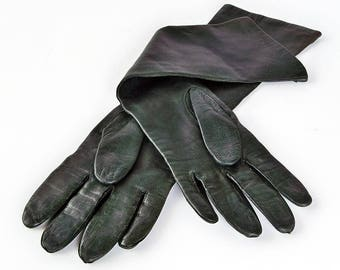 Vintage Women's Black Kid Leather Gloves - Made in Italy, Silk Lined, Elbow Length, Size 7 1/2
