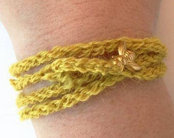 Yellow Crochet Wrap Bracelet with Brass Bee Charm - Keeping Bees in Sussex Wrap Bracelet // Bumblebee Bracelet // Honey Bee Necklace