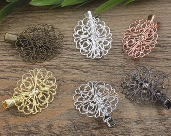 20 Brass Hair Clip W/ 34x26mm Oval Filigree Floral Base Setting Antique Bronze/ Silver/ Gold/ Rose Gold/ White Gold/ Gun-Metal Plated- Z7310