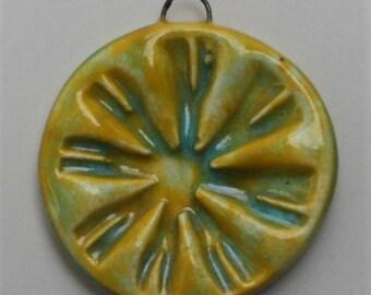 Handcrafted Ceramic Yellow Pendant PEN0281017