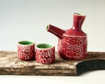 Sake or Whiskey Set in Red