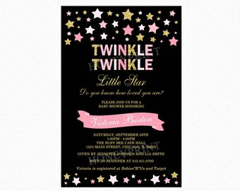 Twinkle Twinkle Little Star Baby Shower Invitation, Star Baby Shower Invitation, Pink, Gold Glitter, Personalized, Printable or Printed