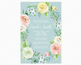 Floral Wreath Baby Shower Invitation, Spring, Watercolor Botanical Flowers, Printable or Printed