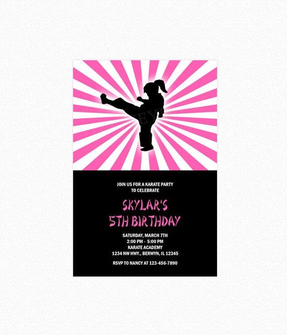 Karate Birthday Party Invitation, Taekwondo Birthday Party