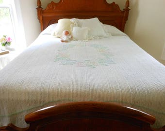 Vintage Chenille Bedspread White With Pastel Flowers Vintage Bedspread Chenille Bed Spread Free Shipping