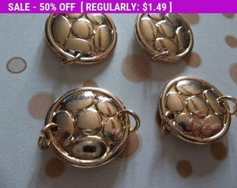 50% OFF Clearance SALE Jewelry Connectors - Gold Embossed Dots - 19mm - 4 pieces