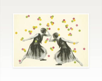 CLEARANCE SALE! A4 Zodiac Art Print, Gemini Gift, 1920s Flapper Girls - Dance : Gemini