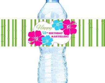 Luau #Party Water #Bottle #Labels - (PRINTED or DIGITAL FILE)