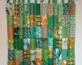 Custom Made Boho Gypsy Decor Lined Patchwork Curtains Green And Yellow Theme Kitchen Bathroom Tab Top