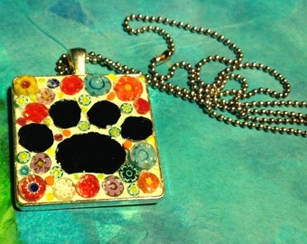Millefiori mosaic square with Hand cut black paw pendant necklace