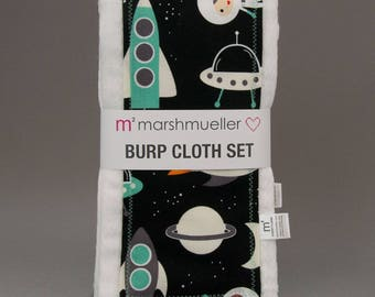 Space Explorers Burp Cloth Set, Baby Burp Rag Set, Astronaut Baby Shower Gift, New Baby Gift Under 20, Space Theme Nursery