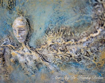 Gentle Being. Inspirational Wall Sculpture by Fae Factory Artist Dr Franky Dolan (clay relief & canvas painting mixed media art) {SEE VIDEO}