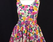 Vintage 1990's Contempo Casuals Flowered Fit and Flare Sundress //Pinup Sexy Floral Dress // 50's Style Flirty Crinoline Skirt