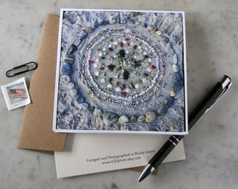 Fogland Beach Mandala ~ One 5x5 Square Note Card (with envelope, blank inside, no message)