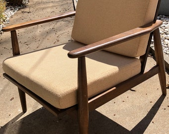 Vintage Walnut Baumritter Lounge Arm Chair Mid Century Modern Danish American -1