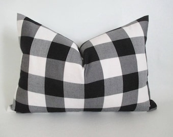 Lumbar Pillow Cover Buffalo Plaid Black and White Both Sides Zipper Opening New F/W 2017