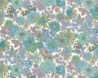Teal Aqua Purple and Rose Floral Cotton Lawn, Memoire a Paris Basic 2017 Collection From Lecien Japan, 1 yard